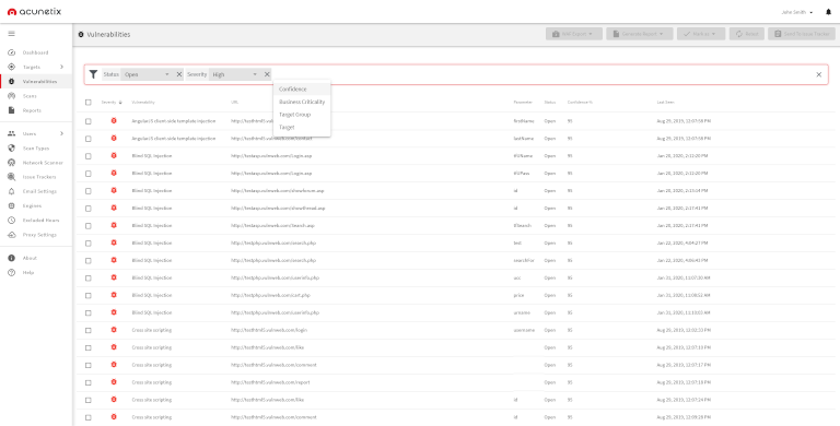acunetix's vulnerabilities tab showing all vulnerabilities filtered by high severity