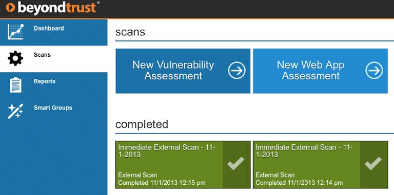 beyondtrust network security scanner's scans section showing new and completed scans