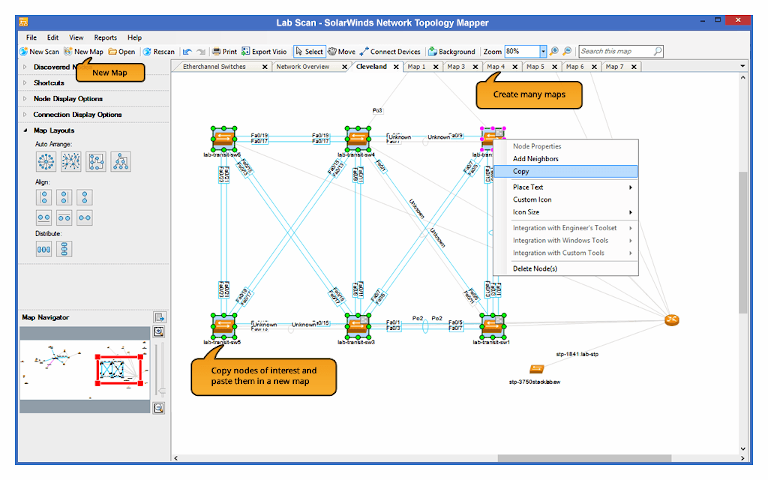 solarwinds network topology mapper showing several connected maps