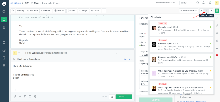 screenshot of freshdesk's ticket resolve window