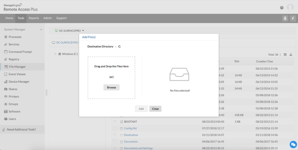 manageengine remote access plus showing remote file sharing function of the tool