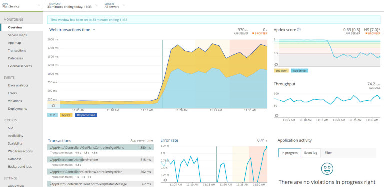 new relic apm showing web transactions time