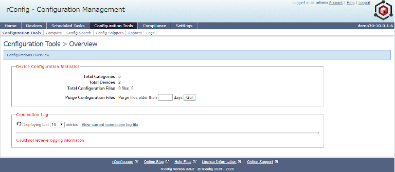 screenshot of rconfig's configuration overview