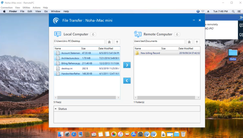 remotepc showing file sharing between two computers