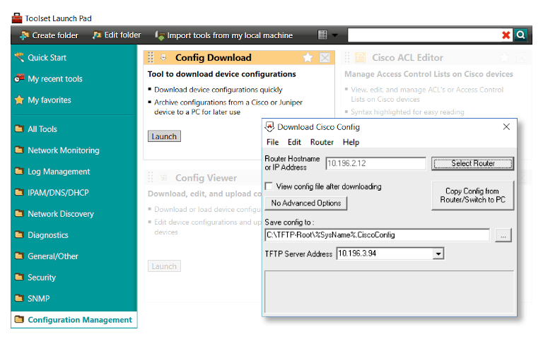 solarwinds engineer's toolset's config downloader