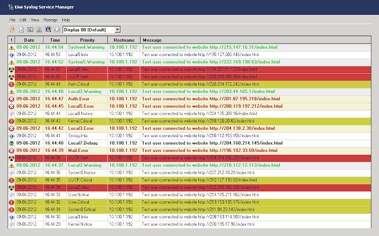 screenshot of kiwi syslog service manager