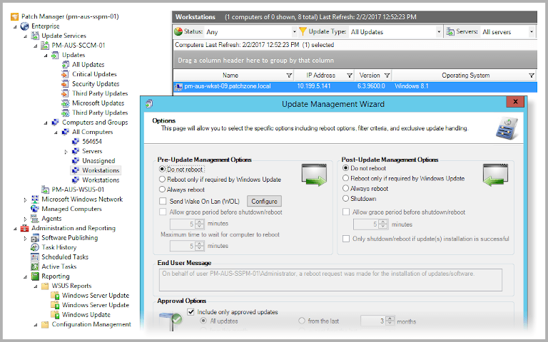 screenshot of solarwinds patch manager's update management wizard