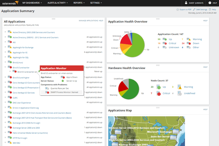 solarwinds server and application monitor showing an overview of application and hardware health