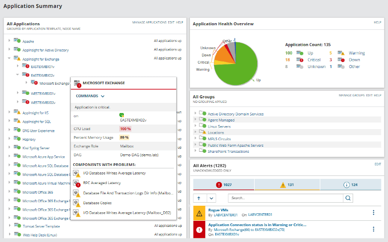 solarwinds server & application monitor showing application summary
