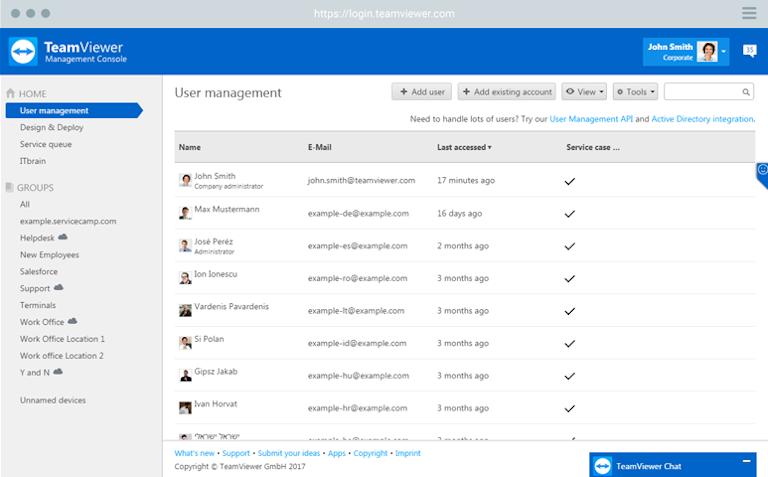 teamviewer's user management window