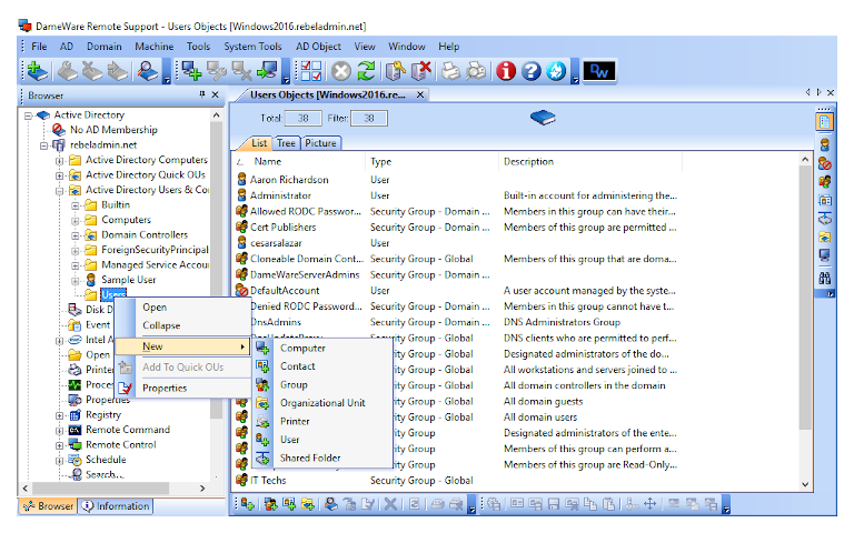 screenshot of dameware remote support's new active directory user account creation window