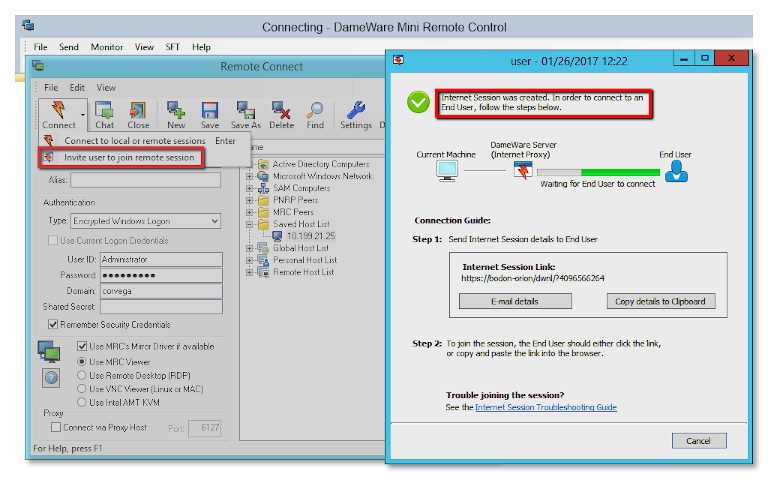 screenshot of dameware remote support showing how to invite users to join remote session