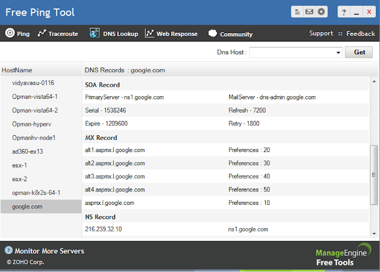 screenshot of manageengine free ping tool showing dns records of google.com