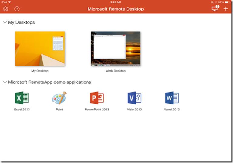 screenshot of microsoft remote desktop's dashboard