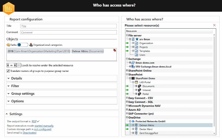 screenshot of solarwinds access rights manager showing onedrive report configuration