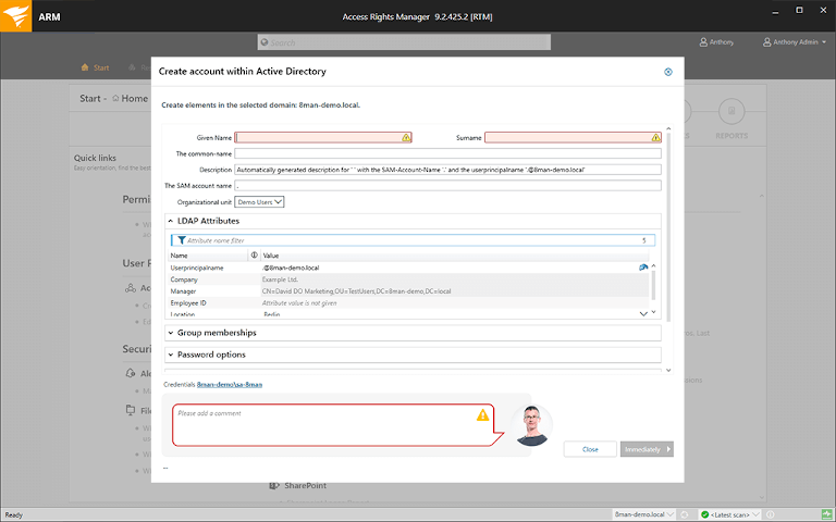 screenshot of solarwinds access rights manager showing user account creation