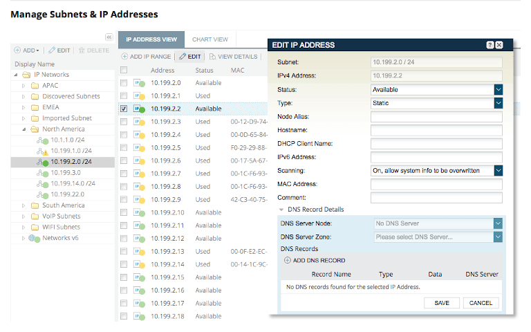 screenshot of solarwinds ip address manager showing available and used ip addresses