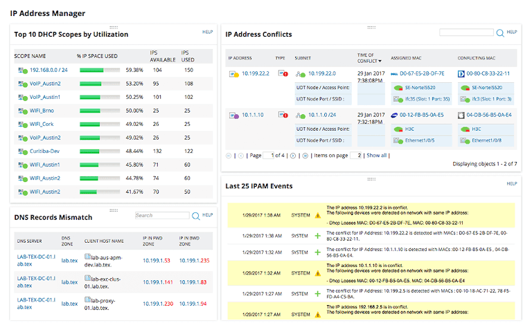 screenshot of solarwinds ip address manager showing dhcp scope, ip conflicts and dns mismatch