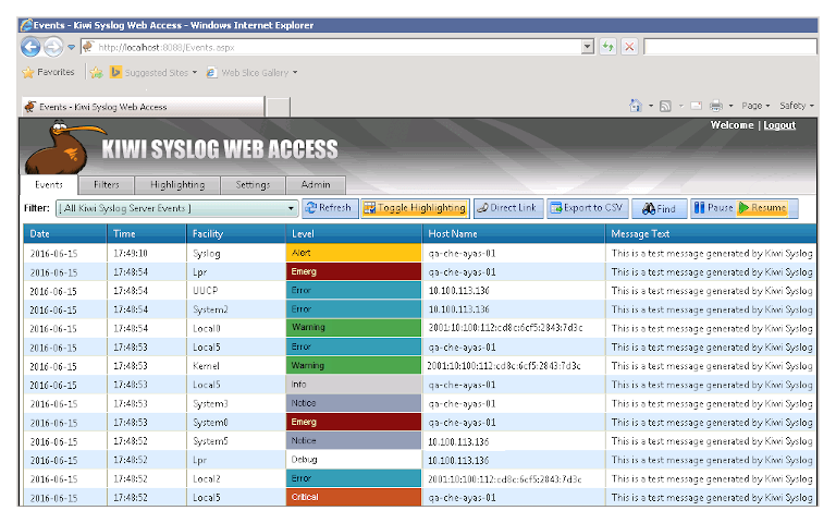 screenshot of solarwinds kiwi syslog server's web access report