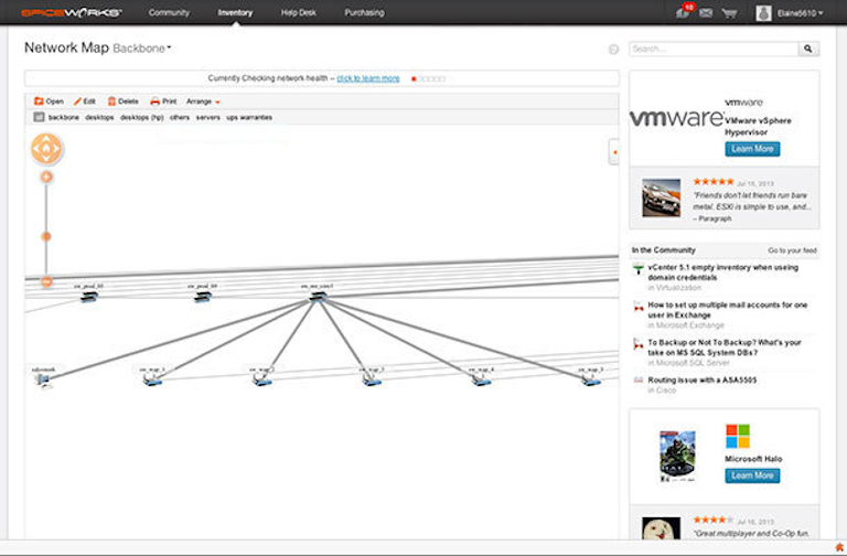 spiceworks showing connected network map