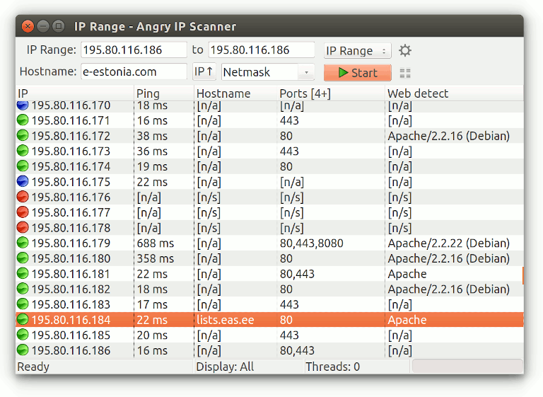 screenshot of angry ip scanner performing ip scan