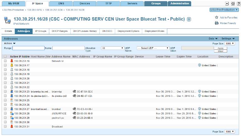 screenshot of bluecat ipam showing active ip address details
