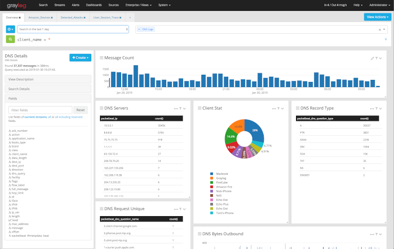 screenshot of graylog showing dns server details