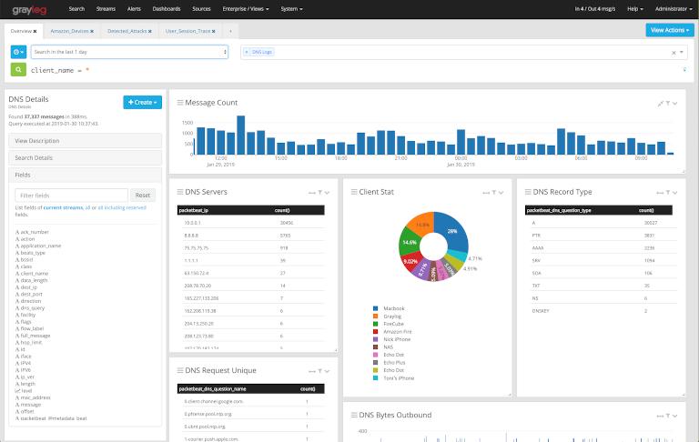 screenshot of graylog showing dns details of servers