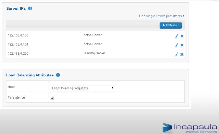 screenshot of incapsula showing server ip details