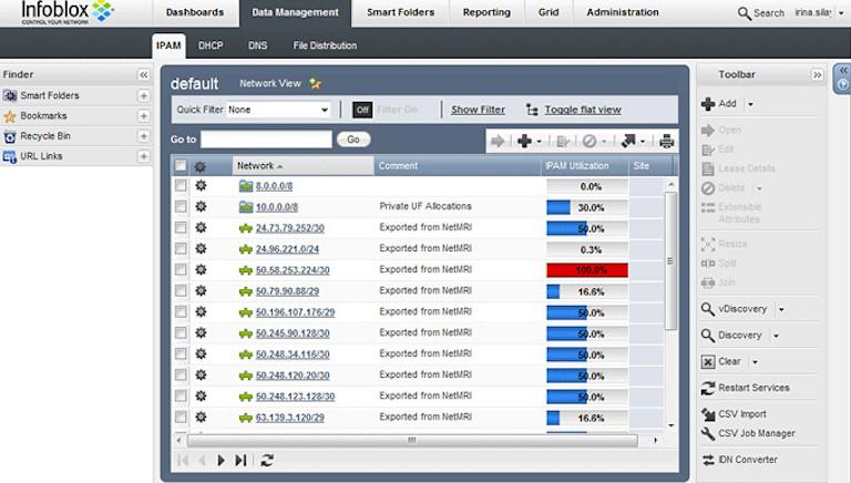 screenshot of infoblox ipam showing network ip details