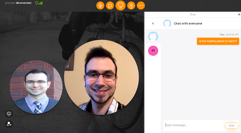 screenshot of join.me's meeting and chat screen