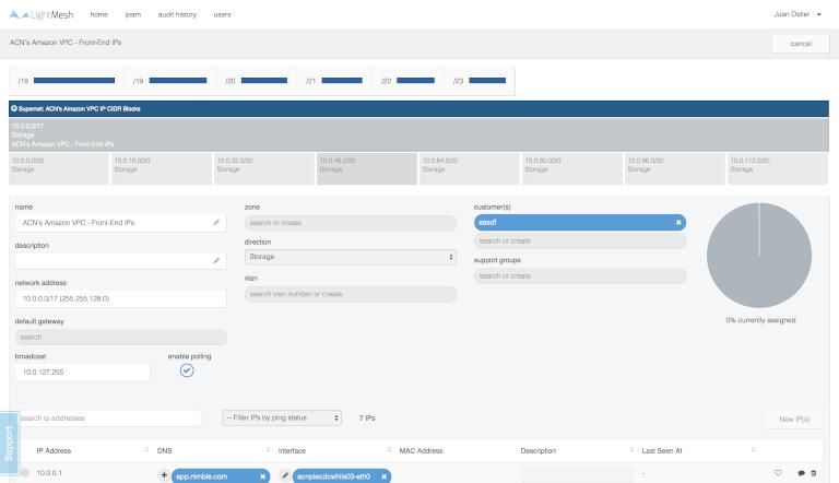 screenshot of lightmesh showing amazon vpc front end ip details