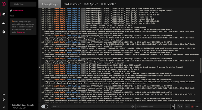 screenshot of logdna showing logs from all sources