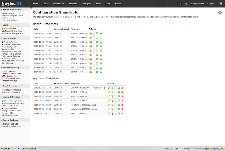 screenshot of nagios showing configuration snapshots