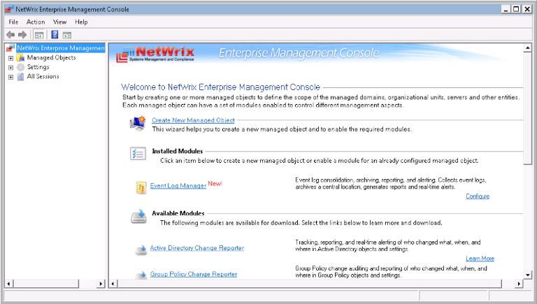 screenshot of netwrix enterprise management console