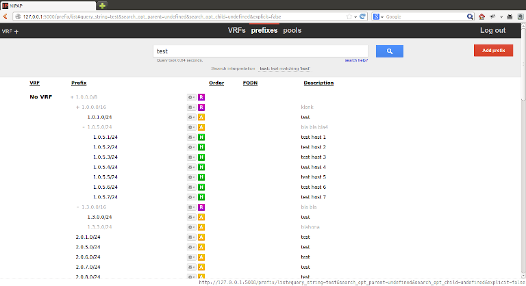 screenshot of nipap showing ip prefix test