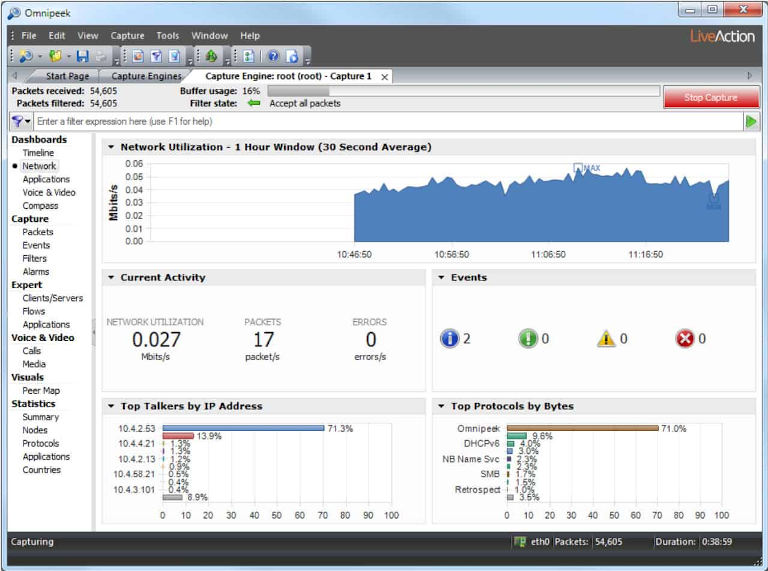 screenshot of omnipeek's network utilization report