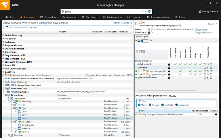 screenshot of solarwinds access rights manager showing user access details
