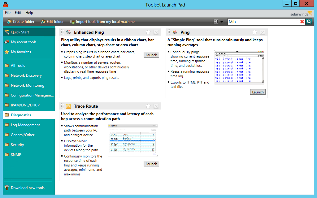 screenshot of solarwinds engineer's toolset's diagnostics window