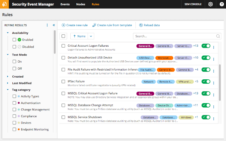 screenshot of solarwinds security event manager's rules dashboard showing all enabled rules