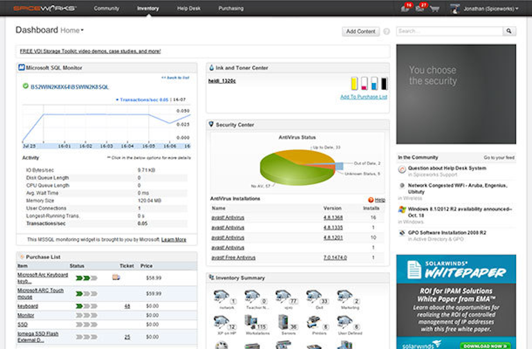 screenshot of spiceworks' inventory dashboard