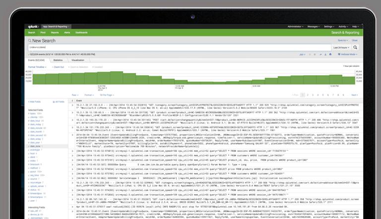 screenshot of splunk performing log search