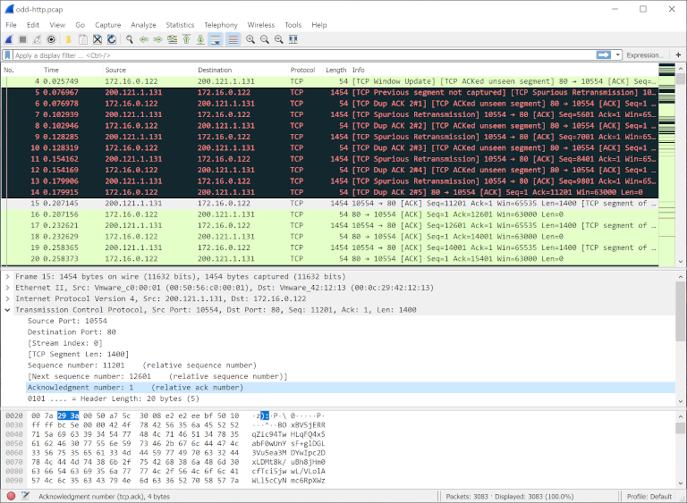 screenshot of wireshark showing tcp protocol details