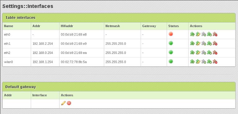 screenshot of zevenet's interfaces table showing server status