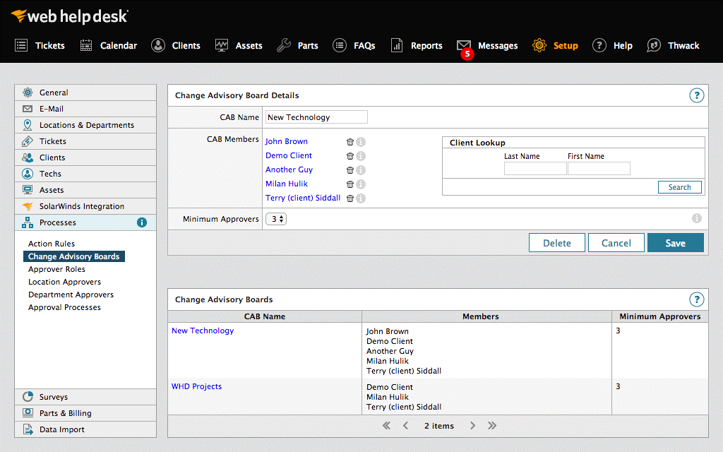 SolarWinds WebHelpDesk panel